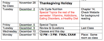 class schedule for nutrition and health fall 2014 how to cure