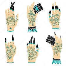tattoo old school mani old school tattoo hands stock vector helen adamova 105006922