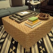 square seagrass coffee table ottoman mecox gardens