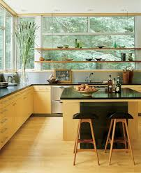 Glass Shelves For Kitchen Cabinets Glass Shelves In Front Of Window Kitchen Modern With Floating