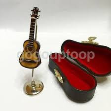 dolls house miniature musical instrument guitar with bow stand