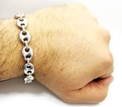 chain link bracelet sterling silver images Sterling silver hammered gucci link bracelet 9 inch 12mm jpg