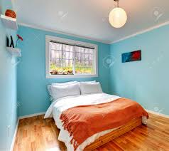 Bedroom Light Blue Images by Cozy Bedroom In Light Blue Color With Hardwood Floor And Wooden