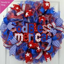 4th of july wreaths god bless america wreath 4th of july wreath white blue