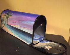 Nautical Themed Mailboxes - sunset beach painted mailbox tropical beach hand by olenkasart