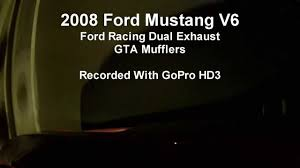ford racing exhaust mustang v6 2008 mustang v6 ford racing dual exhaust w gta mufflers gopro