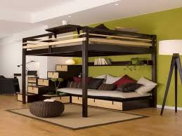 lit en hauteur avec canapé lit mezzanine la vedette de la chambre à coucher