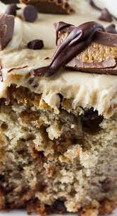 chocolate chip banana cake with peanut butter frosting recipe