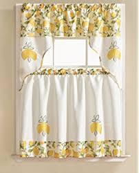 amazon com country lemon fest 3 pc kitchen curtain tier u0026 swag