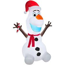 amazon com gemmy airblown inflatable olaf wearing santa hat and