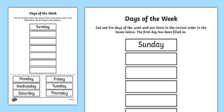 days of the week cut and stick worksheet
