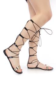 black strappy lace up tie jelly gladiator sandals pvc