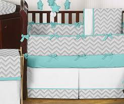 Lambs Ivy Duchess 9 Piece Crib Bedding Set by Unique Modern Gray Turquoise And White Chevron Baby Boy Or