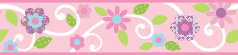 Pink Floral Scroll Peel And Stick Kids Wallpaper Border - Wall borders for kids rooms
