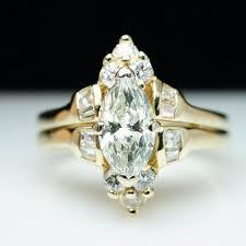 unique vintage large marquise cut natural diamond engagement ring
