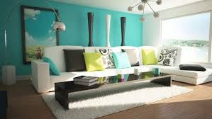 Teal Table L Turquoise Living Room Decor With White L Shaped Sectional Sofa