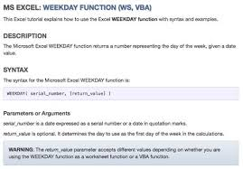 tutorial on excel weekday function this function was implemented