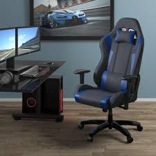 blue desk chairs corliving grey and blue high back ergonomic office gaming chair