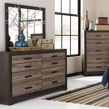 Bedroom Dresser With Mirror by Signature Design By Ashley Harlinton Rustic Two Tone Dresser