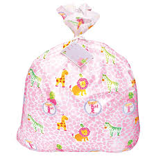 safari 1st birthday pink jumbo plastic gift bag