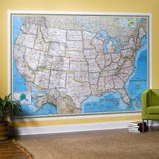 United States Map With Oceans by United States Classic Wall Map Mural National Geographic Store