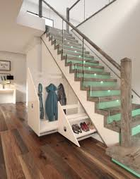 Stair Lighting by Duck Egg U0027 Coloured Risers With Led Tread Lighting Make This Space
