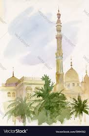 watercolor islamic mosque painting royalty free vector image