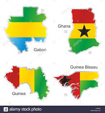 Flags Of African Countries Africa Flag Ghana Gabon Guinea Map Atlas Map Of The World Isolated