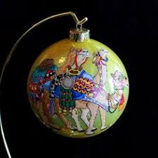hand painted gourd christmas ornament by sandy short