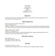 Work Experience Resume Sales Associate Resume Examples Assistant Manager Template Sample In Objective For