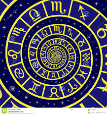 zodiac sign on time spiral stock vector image of futuristic