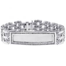 Personalized Name Bracelets Mens Diamond Id Name Bracelet 14k White Gold 2 70 Ct