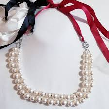 necklace pearls ribbon images Premier designs jewelry pearl necklace with 3 ribbons poshmark jpg