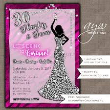 30th birthday party invitations woman bling dress 30th womans