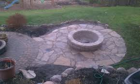 Average Cost Of Flagstone Patio by Flagstone Patio With Fire Pit Connected To Brick Paver Patio