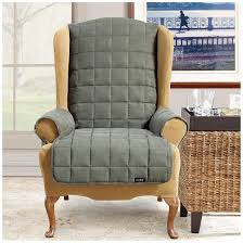 Sure Fit Patio Furniture Covers - sure fit waterproof quilted suede wing chair recliner pet cover