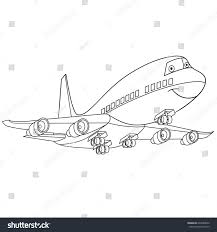 coloring page flying plane passenger aircraft stock vector