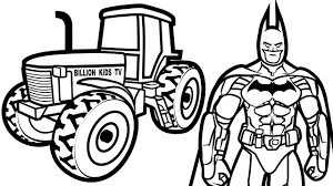colors tractor w superheroes batman coloring pages for kids