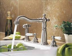 chrome water ridge pull out kitchen faucet wide spread two handle