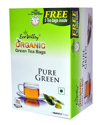 eco valley organic green tea pure 25 tea bags free 5 tea bags