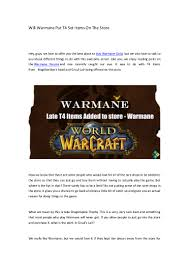 Would Love To Do Things by Will Warmane Put T4 Set Items On The Store R4pg