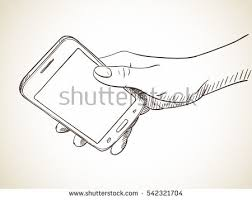 sketch woman touching tablet hand drawn stock vector 321240443