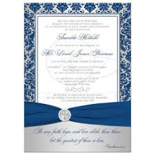 housewarming invite christian wedding invitation royal blue silver damask printed