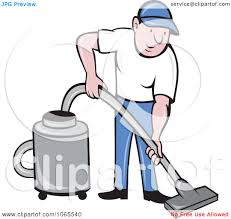 clipart man using a canister vacuum royalty free vector