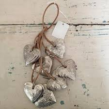 ashwell shabby chic couture silver hearts on leather