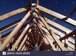 prefabricated roof trusses detached house prefabricated roof trusses in position stock photo