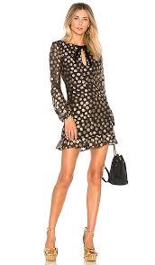 for love u0026 lemons lottie bell sleeve dress in gold dot revolve