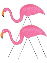 two 26 pink flamingo decoration yard ornaments baby