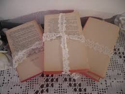 vintage shabby chic book bundle wedding centerpiece decoration