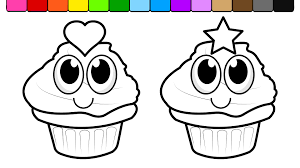 Learn Colors For Children And Color Birthday Cupcake Coloring Page